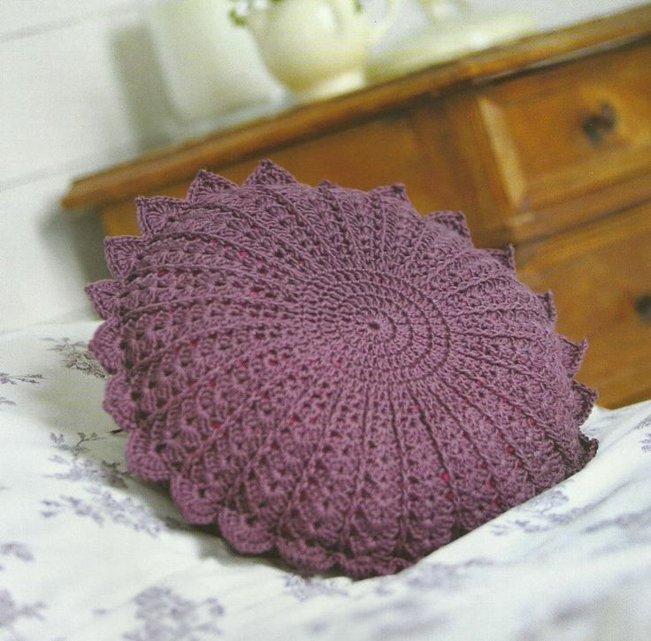 Knitting Pattern Round Cushion Cover : Crochet Round Petal Cushion Cover Pattern