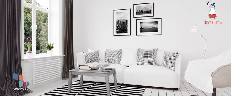 Interior black&white render