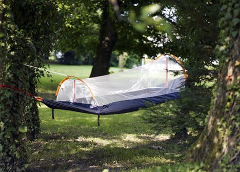 The Nyamuk: compact sleeping bag that goes from full tent to hammock complete with mosquito net. (Maybe I could sleep under the stars if I had one of these.)
