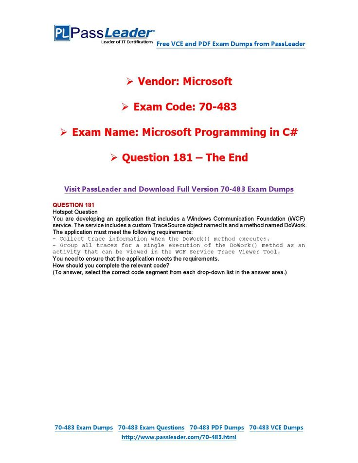 70-483 Exam Dumps with PDF and VCE Download (181-end)