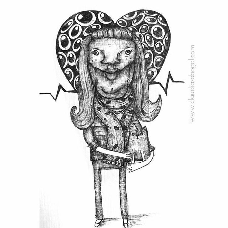 """27 Me gusta, 4 comentarios - Claudia Sabogal G. (@cgrafica) en Instagram: """"Ejer. Autorretrato  #illustration #ilustracion #ilustra #graphic #practice #gatitos #catslover…"""""""