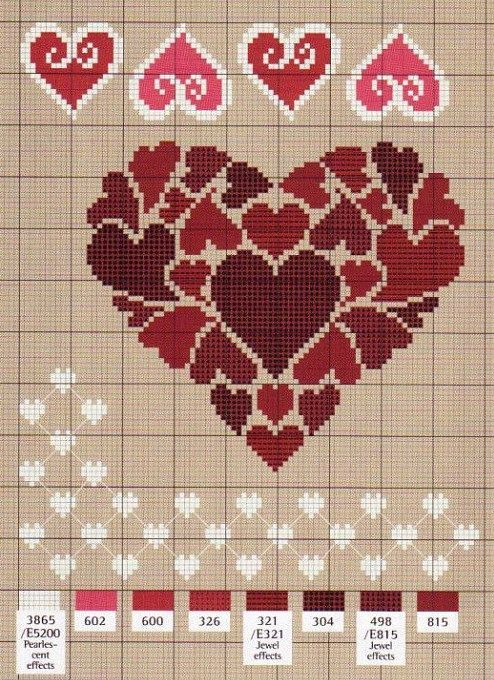 Love these Cross stitch hearts: