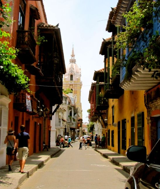 Cartagena, Colombia - Street scene and cathedral in the Old Town
