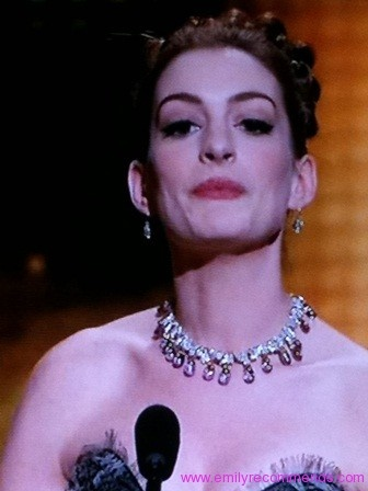 Anne Hathaway Oscars 2011 Pink Diamond Necklace
