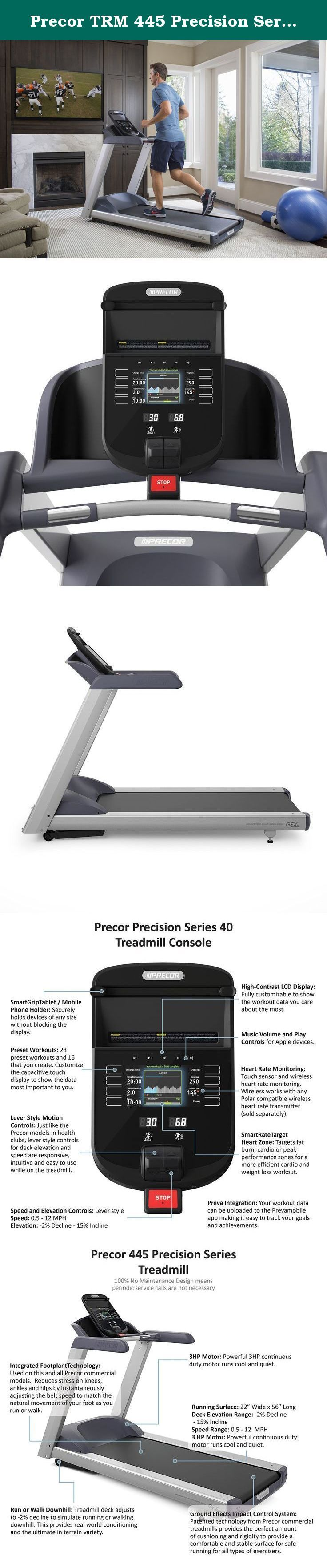 Precor TRM 445 Precision Series Treadmill. Integrated Foot plant Technology reduces stress on knees, ankles and hips by adjusting the belt speed to match the natural movement of your feet. Patented Ground Effects Impact Control technology uses precisely engineered shock absorbers to provide the perfect amount of cushioning. 23 preset and 16 user-defined workouts; customizable capacitive touch display shows the data most important to you. Treadmill deck adjusts from +15% incline to -2%...