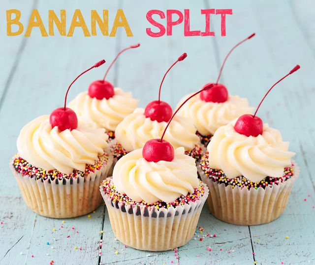 Cupcakes de banana split