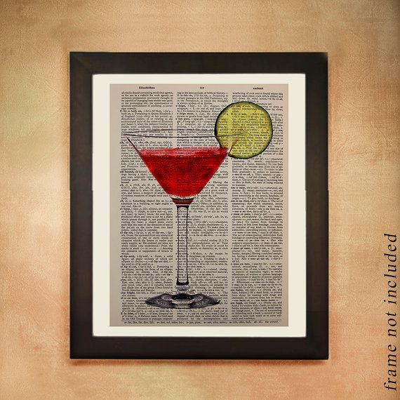 Cosmo Dictionary Art Print, Cosmopolitan Drink Vodka Alcohol Ice Glass Bar Art Kitchen Art Wall Gift Ideas da247
