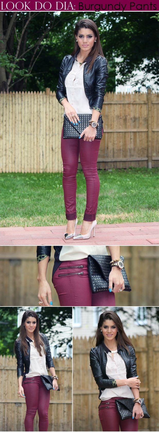 burgundy leather pants - WANT!! - Camila Coelho
