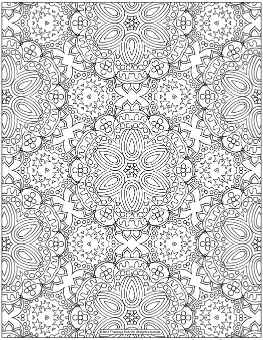 free abstract patterns coloring page for grown ups - Color In Pages