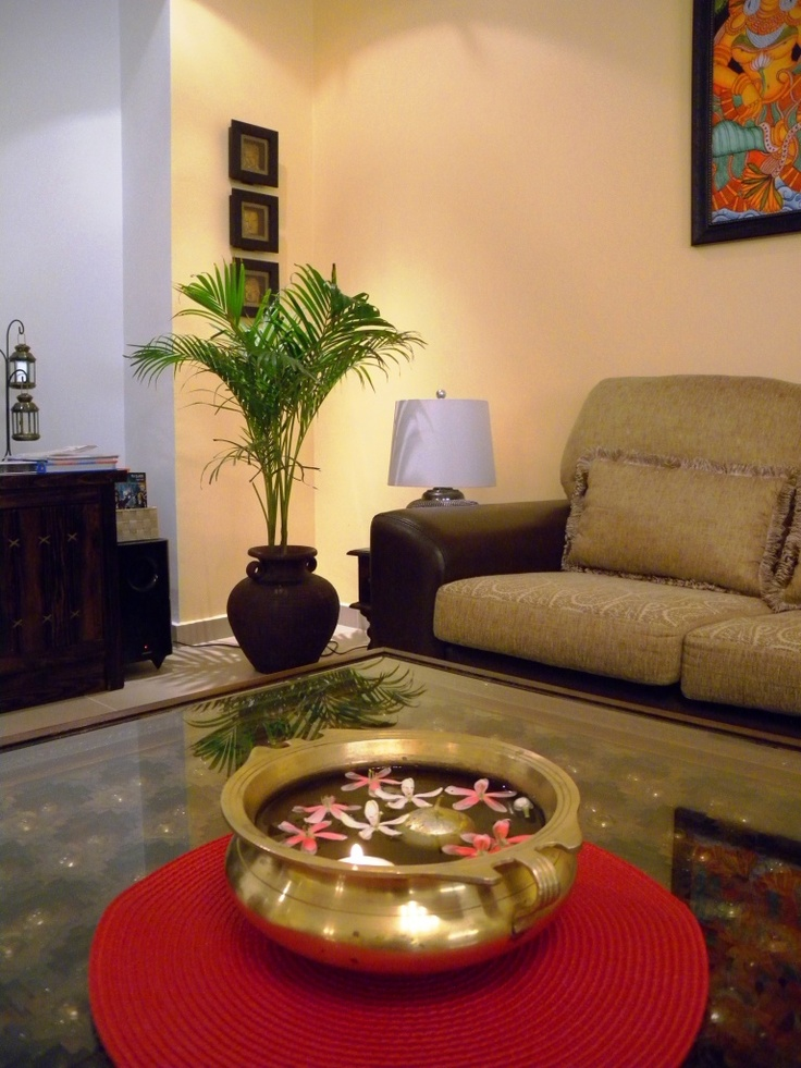 So simple yet so lovely fills the room with freshness for Living room indian designs