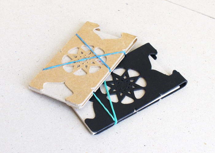 Mandala-01.  Cardboard Cardholder / Cardboard Card wallet. Cardboard + Rubber band. Exploration into low cost materials and high design. By @creativeBhav
