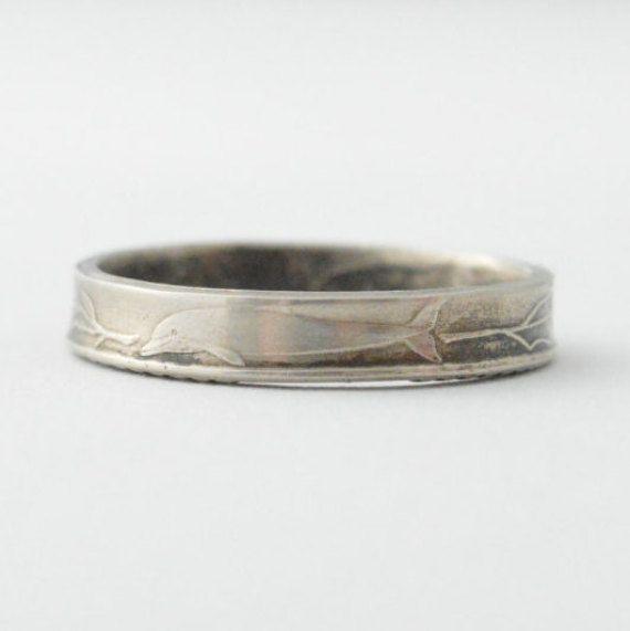 Coin Ring/ Münzring Dolphin(Delfin) size(US) 8 / Größe(DE) 18 size/Größe(mm/inches): 57 ; 2 5/16