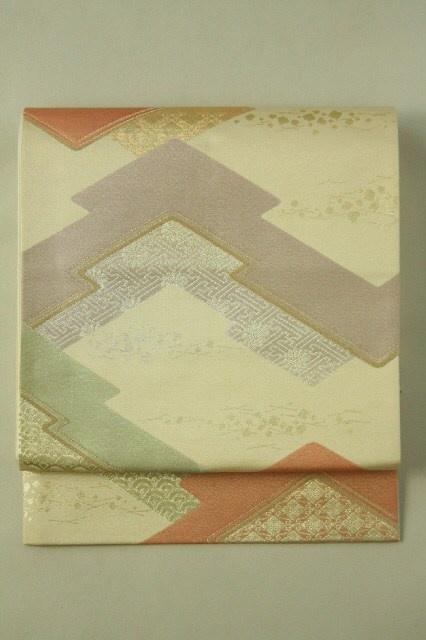Mild Gold Fukuro Obi (Rokutsu), Abstract Pattern / 淡金地 松皮菱幾何学柄文様 六通袋帯   #Kimono…