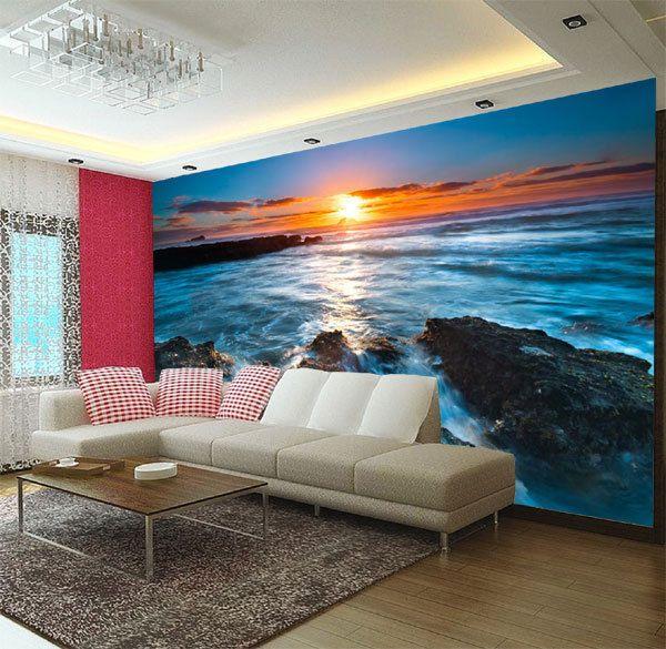 Sunset Rock Beach 3D Full Wall Mural Large Print Wallpaper Home Decal Decor  Kids Part 19