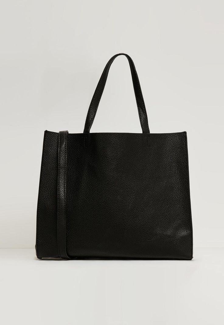 Missguided - Clean Edge Textured Tote Bag Black