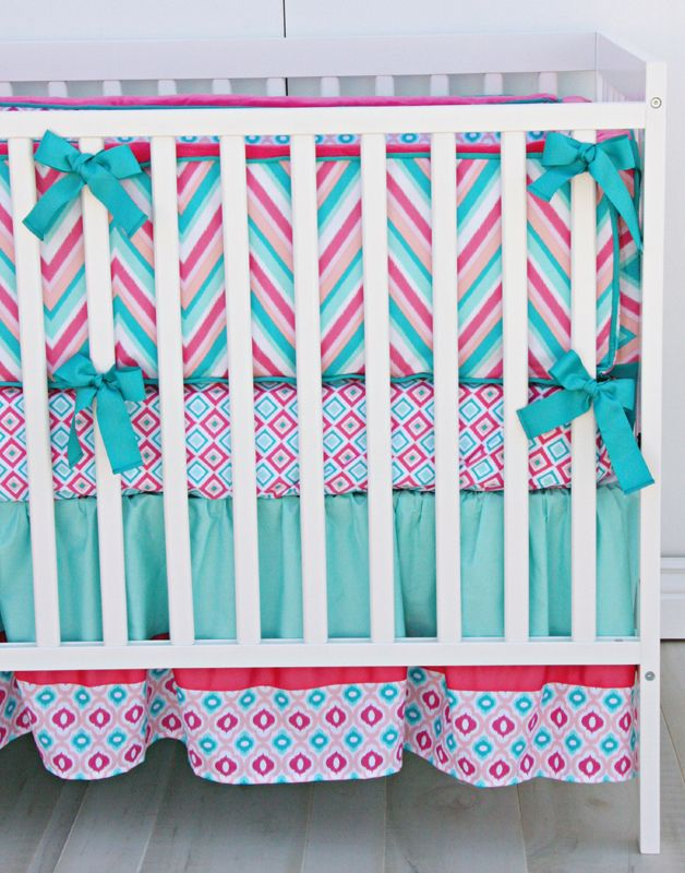 Adorable chevron girls crib bedding in pink & teal...without the bumper, of course! (Follow safe sleep rules parents!)