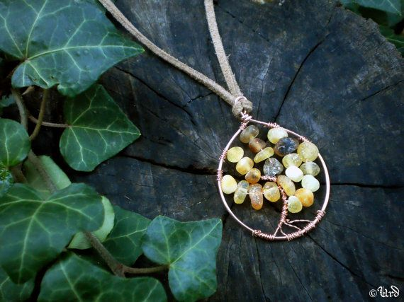 Raw Baltic amber Tree of life wire wrapped by UrdHandicrafts, $26.00