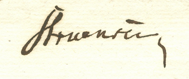 Stuensees underskrift (Rigsarkivet)    Struensee's signature. (National Archives)
