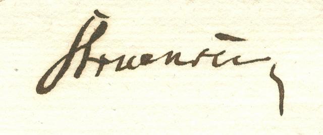 Stuensees underskrift (Rigsarkivet)    Struensee's signature. (National Archives)