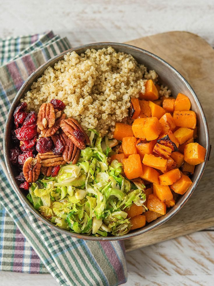 "Easy and healthy vegetarian bowl with quinoa, pecans, Brussels sprouts, cranberries, and butternut squash | Try HelloFresh today with code ""HelloPinterest"" and receive $25 off your first box."