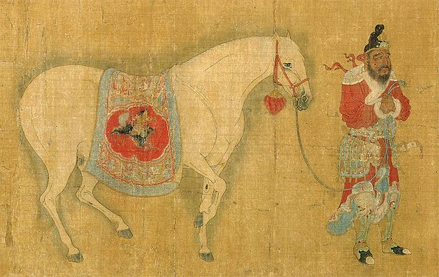 Portadores de tributo Por Ren Bowen (ca. mediados siglo XIV) Dianstía Yuan copia de pintura del periodo Tang Rollo: tinta, color y oro sobre seda 34.6 x 220.5 cm