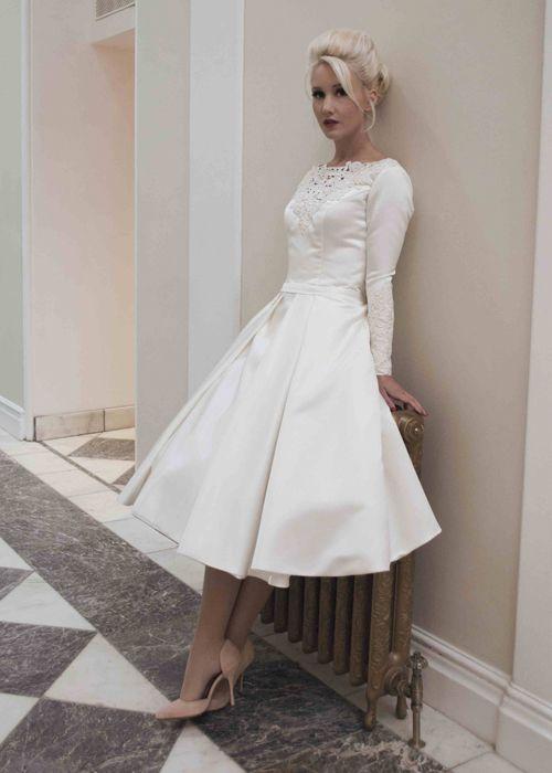 Ed Tea Length Dress Martha Short Satin Wedding With Long Sleeves And Lace My Style Pinterest Dresses