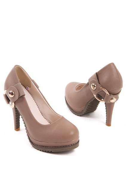 Round Head New Simple Heel Shoes Apricot