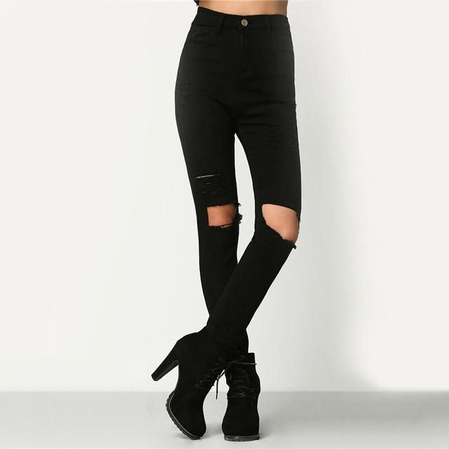 Dotfashion Cut Out Knee Ripped Casual Jeans 2017 Black Mid Waist Skinny Trousers Female Autumn Button Fly Long Pants