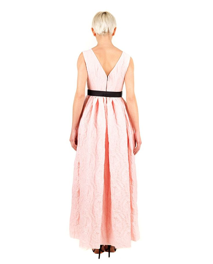 ANTONIO MARRAS Pink brocade long dress lace embroidered bustier round neckline in front wide neckline in back sleeveless skirt with darts elegant contrast waist bow back zipper closure 67% PL 21% PA 9% VI 3% GLASS Lining:100% VI