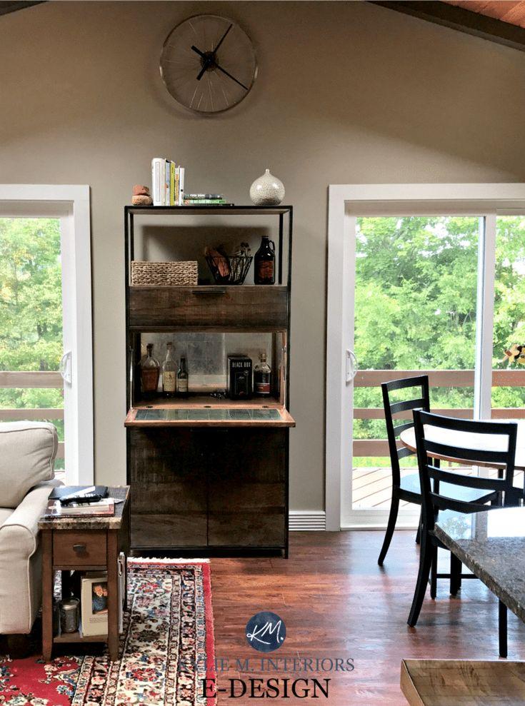 Benjamin Moore Pashmina, vaulted ceiling, wood furniture. KYlie M E-design