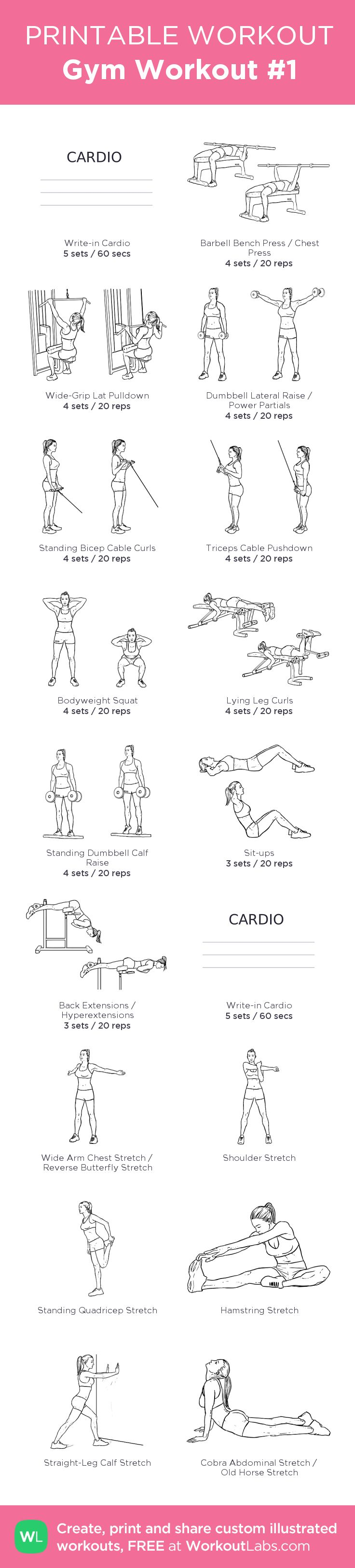 Gym Workout #1 – my custom workout created at WorkoutLabs.com • Click through to download as printable PDF! #customworkout