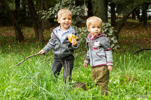 Brothers in the early autumn park