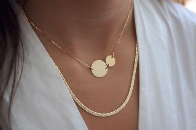 Disco de oro collar delicado círculo collar disco grande todos