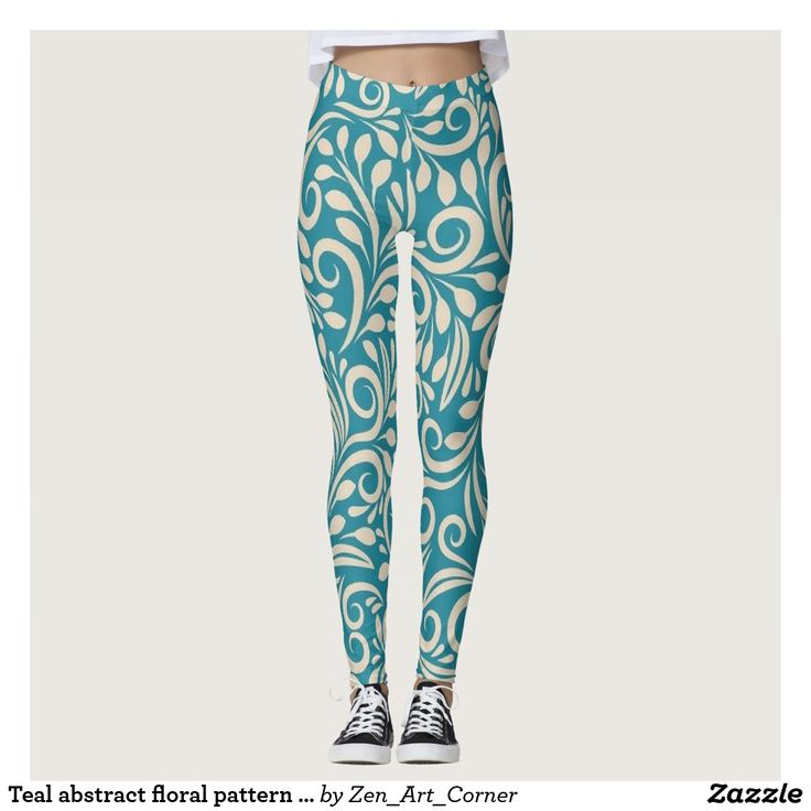 Teal abstract floral pattern leggings