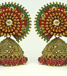 Buy red green vibrant handembroidered jodha jhumka jhumka online