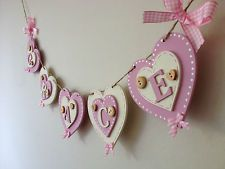 Personalised Wooden HEART Name Bunting Nursery CHILDREN'S Christening