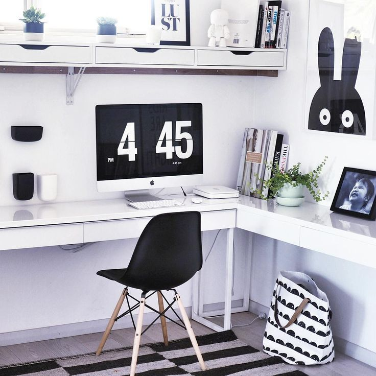 Black U0026 White Home Office With Ikea U0027Besta/Bursu0027 Desk | Home Office