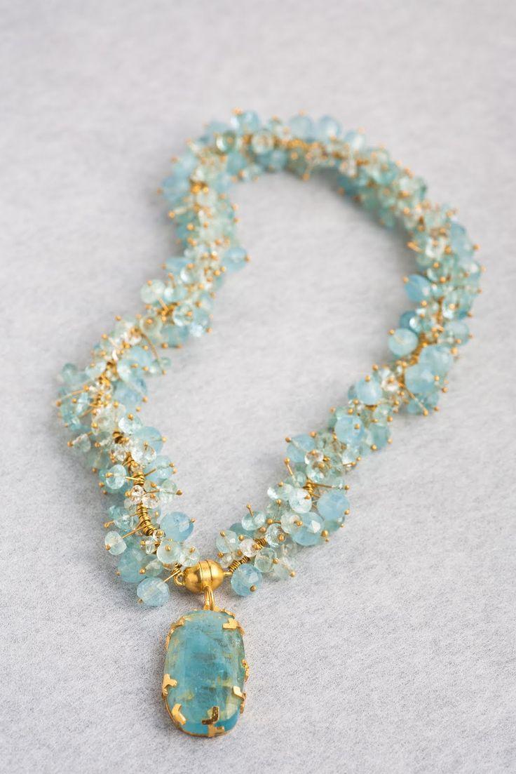 Pernilla Sylwan - Gold and aqua marines, necklace.