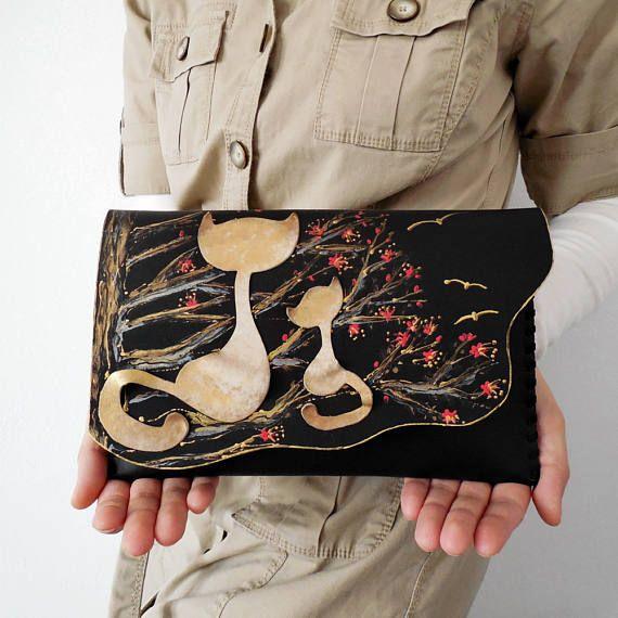 Black cat clutchUnique pursePainted leather bagCat