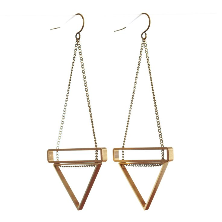 Triangle and Rectangle Stack Earrings
