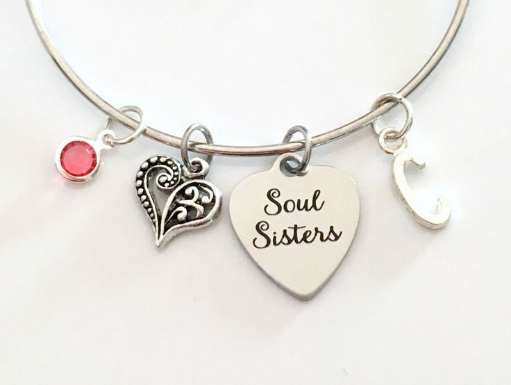 Soul Sisters Bracelet, Best Friend Jewelry Heart Charm Bangle Silver Gift for BFF birthstone initial Personalized Custom Secret present girl by aJoyfulSurprise on Etsy