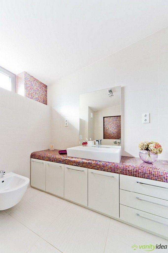 white, purple bathroom
