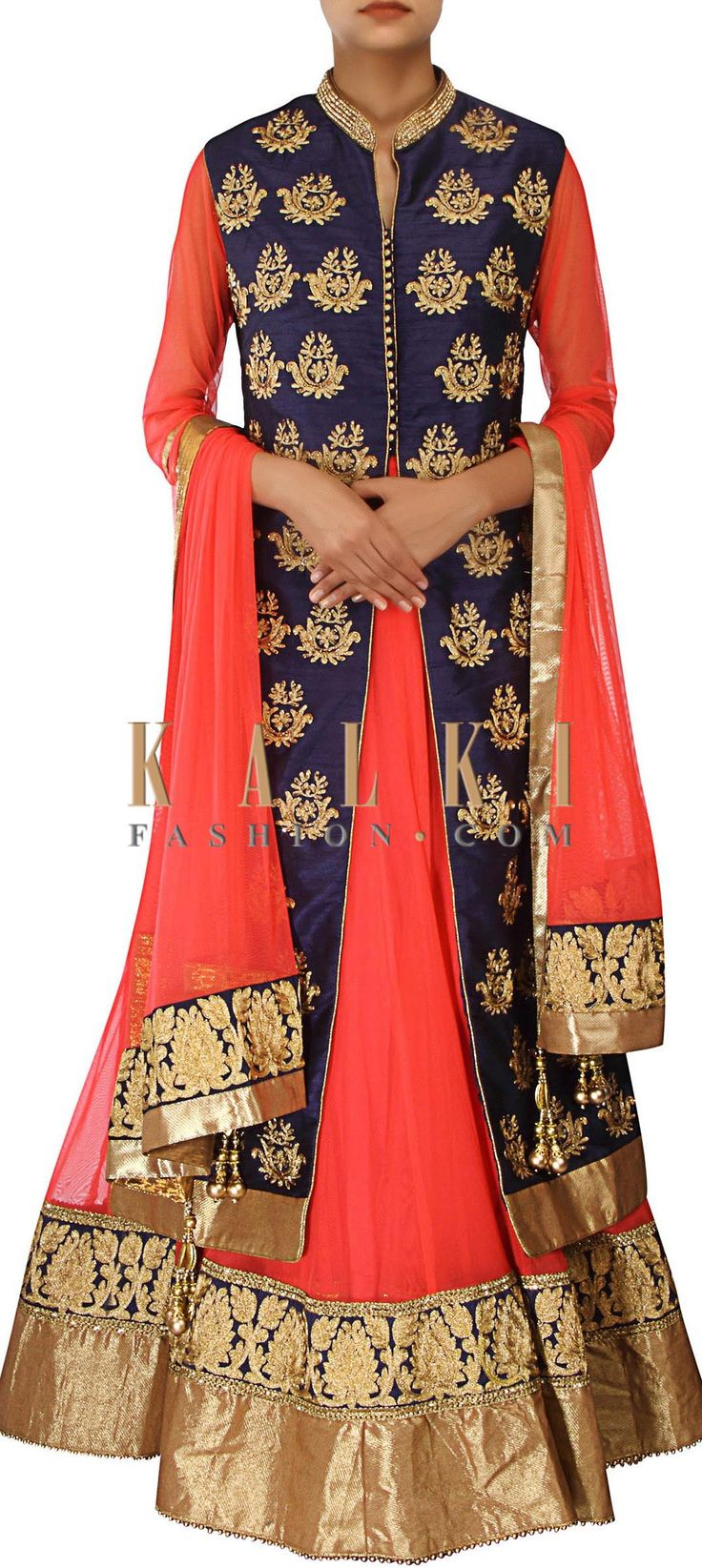 Buy Online from the link below. We ship worldwide (Free Shipping over US$100) http://www.kalkifashion.com/orange-and-navy-blue-anarkali-suit-adorn-in-aari-embroidery-only-on-kalki.html