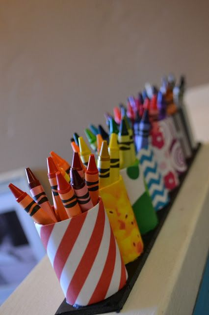 DIY Crayon Organizer made from toilet paper rolls and printed papers