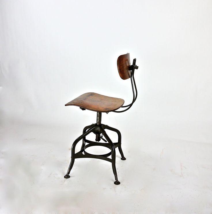 1930s Machine Age Uhl Toledo Steel Furniture Company Stool With Original  Paper Label. Beautiful Patina