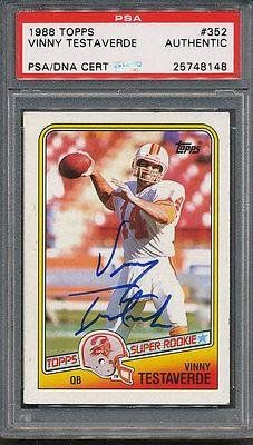 1988 Topps #352 Vinny Testaverde Certified Authentic Auto *8148 – PSA/DNA Certified – NFL Autographed Football Cards