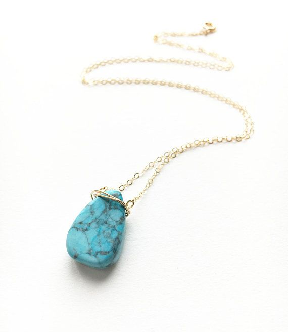 Turquoise Teardrop Necklace Gold Turquoise Necklace