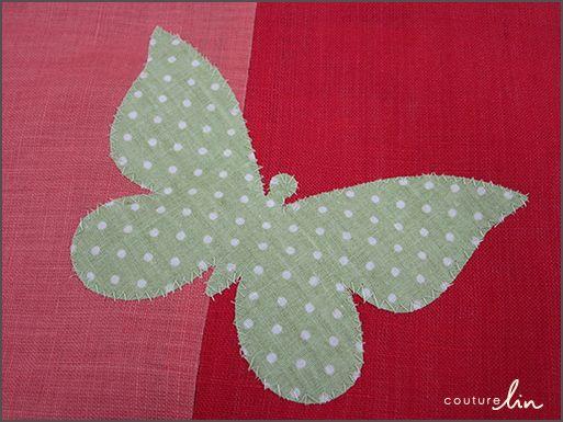 Appliqué d'un papillon Couture Lin