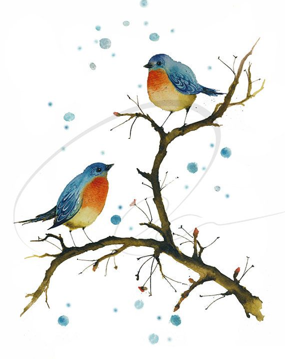 Warm inside - Art Print cute blue love birds red breasted perched winter snow orange watercolor painting wall art home decor Oladesign 8x10