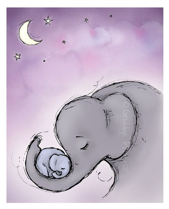Wand Kunst Goodnight Elefanten Kindergarten lila von GrubbyPrincess